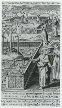 Christ leads his faithful bride into the new garden of the church. Engraving from I. David, Paradisus sponsi et ponsae