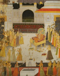 Maharaja Abhai Singh Watching a Dance Performance by Dalchand