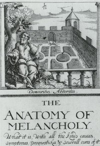 Titelpage of The Anatomy of Melancholy, by Robert Burton. Democritus of Abdera seekig the shade of the greenwood tree outside a formal garden