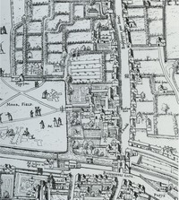 Gardens in the area of Moorgate and Bishopsgate, a section of the so-called Copper-plate map of London
